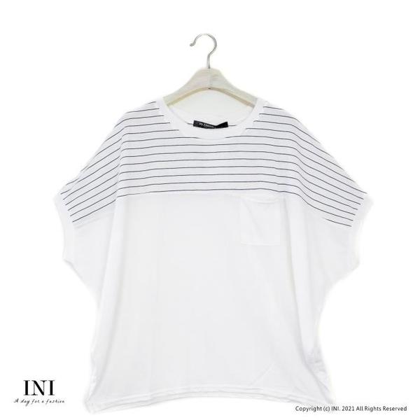 【南紡購物中心】【INI】好看有型、輕盈棉質條紋連袖上衣.白色