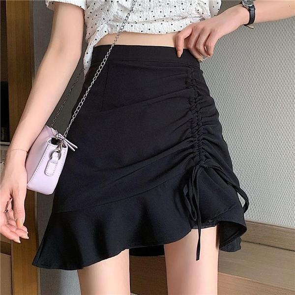 半身裙 夏季 不規則半身裙復古黑色包臀短裙高腰顯瘦a字裙女-Ballet朵朵