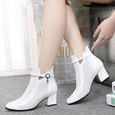 真皮粗跟鏤空涼靴 女高跟鞋【多多鞋包店】z42