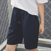 帛卡琪五分褲女夏裝寬鬆直筒中褲學生韓版休閒運動鬆緊腰黑色短褲
