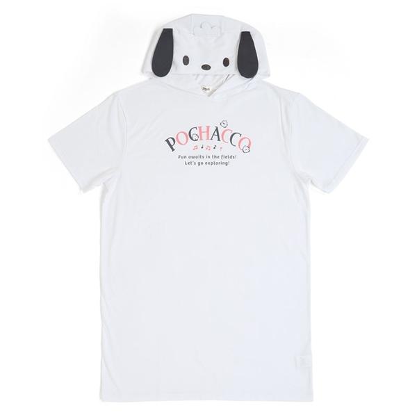 小禮堂 帕恰狗 造型連帽短袖洋裝 連帽洋裝 帽T洋裝 長版上衣 棉T (白 大臉) 4550337-51454