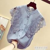 雪紡襯衫短袖女2020年夏季新款蕾絲很仙上衣服洋氣襯衣超仙小衫潮 中秋節全館免運