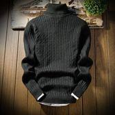 現貨男士高領毛衣冬季新款潮流韓版套頭羊毛衫圓領針織衫男 L/灰色僅此一件2-23