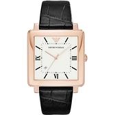 【台南 時代鐘錶 Emporio Armani】亞曼尼 AR11075 羅馬字 日期顯示 方形皮革錶帶女錶 玫瑰金 38mm