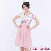 【RED HOUSE 蕾赫斯】花朵雪紡拼接打褶短袖洋裝(粉色)