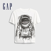 Gap男童 立體印花圓領短袖T恤 682094-白色