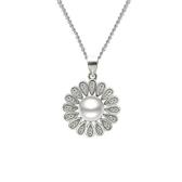 項鍊 925純銀珍珠吊墜-流行花型生日情人節禮物女飾品73dk390【時尚巴黎】