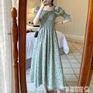 一字肩洋裝 夏大碼胖mm一字肩碎花連身裙女胖妹妹遮肚顯瘦長裙200斤仙氣法式 曼慕
