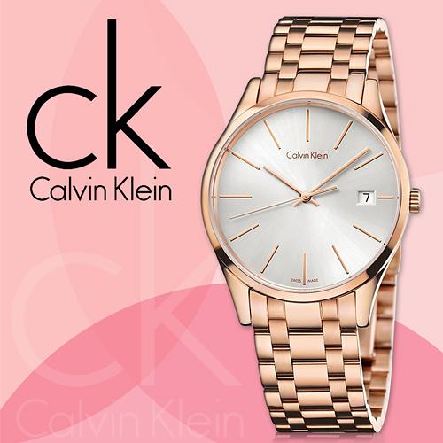 CK手錶專賣店 K4N23646  女錶 玫瑰金 石英  銀面 藍寶石水晶玻璃鏡面 不鏽鋼錶殼錶帶 日期視窗顯示