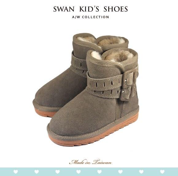 Swan天鵝童鞋-雙帶釦環真皮雪靴3838卡