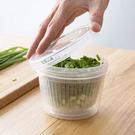 圓形蒜末蔥花切丁雙層保鮮盒 D3308 瀝水籃 瀝水盒 蔥花盒 保鮮盒