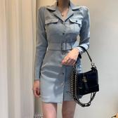 超殺29折 韓國輕熟風收腰修身包臀裙顯瘦長袖洋裝