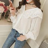 2018韓版夏季款mm最愛遮肚心機上衣v領寬松蕾絲顯瘦雪紡衫
