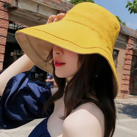 大帽沿遮陽帽 雙面可戴 防曬帽 漁夫帽 遮陽帽 帽子 雙面 雙色 遮陽