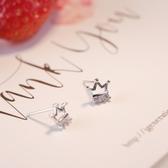 耳環 925純銀鑲鑽-氣質皇冠情人節生日禮物女飾品73gk182【時尚巴黎】