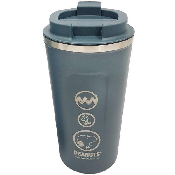 小禮堂 史努比 不鏽鋼隨行杯 510ml (藍圓框款) 4712977-46865