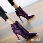 2020春新款高跟短靴馬丁靴通勤粗跟短靴防水臺尖頭漆皮超高跟靴 LR17764【Sweet家居】