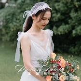 超仙森系拍照復古蕾絲帽式新娘婚紗短款頭紗韓式旅拍造型婚禮頭紗