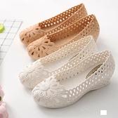 洞洞鞋 涼鞋 夏季鳥巢包頭塑料涼鞋女白色護士鞋小坡跟洞洞鞋舒適孕婦鞋媽媽鞋 薇薇