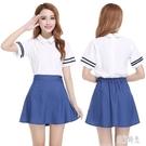 夏裝新款女裝學院風海軍水手服 襯衫牛仔裙兩件套裝學生班服 PA16336『美好时光』