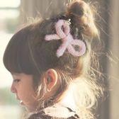UNICO  韓版 兒童手工毛絨蝴蝶結小皇冠邊夾/髮飾