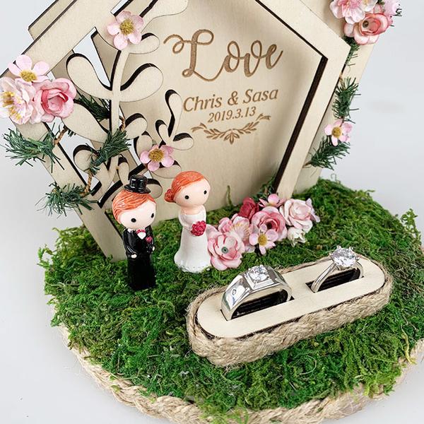 雙層五角拱門戒托創意定制戒枕結婚婚禮婚慶交換戒指盒網紅戒指托