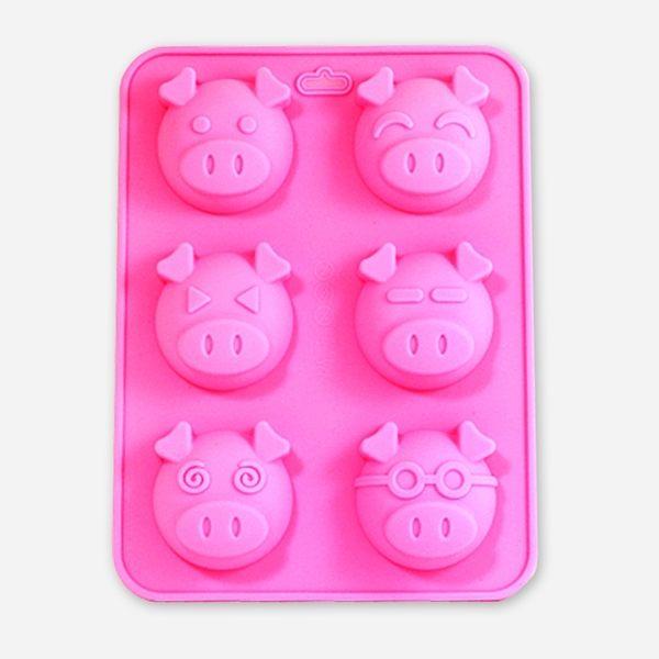 【香草工房】可愛小豬矽膠模-六款6穴