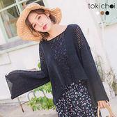 東京著衣-多色柔美甜心鏤空喇叭袖上衣(180352)