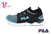 FILA 運動鞋 男童 大童 鬆緊襪套式 慢跑鞋 O7649#黑色◆OSOME奧森童鞋