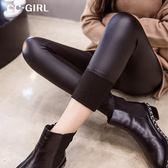 中大尺碼  (內刷薄絨)黑色皮長褲 - 適XL-4L《 19643 》CC-GIRL