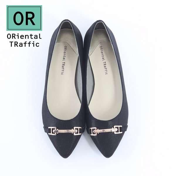 【ORiental TRaffic】洗鍊金屬釦環尖頭低跟鞋-洗鍊黑