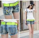 衣美姬♥夏季韓版 時尚牛仔短褲 低腰 綠色鉚釘 拉鍊 刷破 熱褲 含腰帶