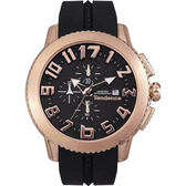 Tendence 天勢 圓弧系列計時手錶-玫瑰金框x黑/45mm TY016004