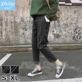 【V2187】shiny藍格子-復古穿著.格紋鬆緊腰寬鬆九分哈綸褲