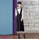 【SHOWCASE】不規則寬版剪裁吊帶褲(黑)