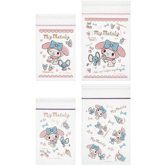 小禮堂 美樂蒂 迷你透明夾鏈袋組 塑膠密封袋 分裝袋 (20入 粉 櫻桃) 4973307-47036