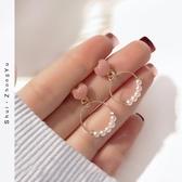 簡約顯臉瘦的耳飾韓國小清新網紅甜美氣質耳墜愛心珍珠耳環女耳釘新年交換禮物