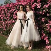 小晚禮服女生日派對連身裙聚會宴會畢業中長款姐妹團洋裝