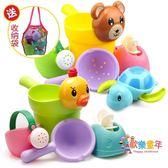 兒童洗澡玩具戲水車男孩女孩小黃鴨洗頭杯嬰兒寶寶灑水壺套裝沙灘