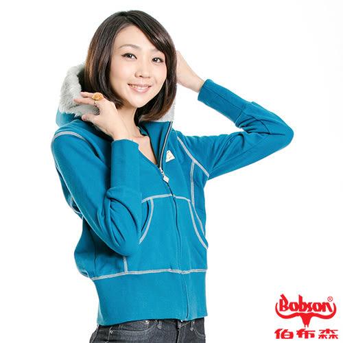 【BOBSON】女款拷克縫線連帽針織外套(藍59)