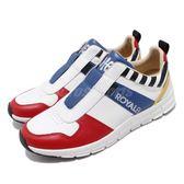 Royal Elastics 休閒鞋 Rider 白 紅 真皮鞋面 無鞋帶設計 高彈力輕量大底 男鞋【PUMP306】 01191153
