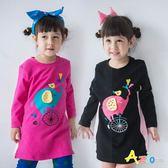 Azio女童  洋裝 小象鳥兒印花腳踏車刺繡側邊拼接長袖棉質洋裝(共2色) Azio Kids 美國派 童裝