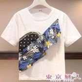 中大尺碼T恤 韓版短袖拼布T恤-東京戀人MS.Q094