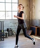 春夏季瑜伽服套裝女上衣健身房運動速幹跑步假兩件褲胖mm大尺碼 1件免運