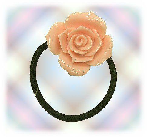 【波克貓哈日網】日本造型髮飾◇造型髮圈◇《粉橘色玫瑰》
