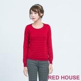 【RED HOUSE 蕾赫斯】金蔥條紋針織上衣(紅色)  滿1111折211