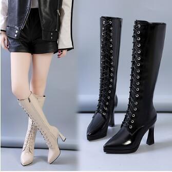 中筒靴 白色高筒靴女小個子長靴不過膝秋款冬2021新款細跟高跟中筒皮靴子 艾維朵