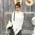 天使波堤【LE0411】純色高領背心二件式露肩長袖上衣(共二色)-長版背心T恤素面純棉衛衣保暖冬服