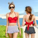 復古高腰性感鋼圈 點點裙邊下擺 比基尼 泳裝 後綁帶 兩件式 橘魔法 顯瘦 現貨