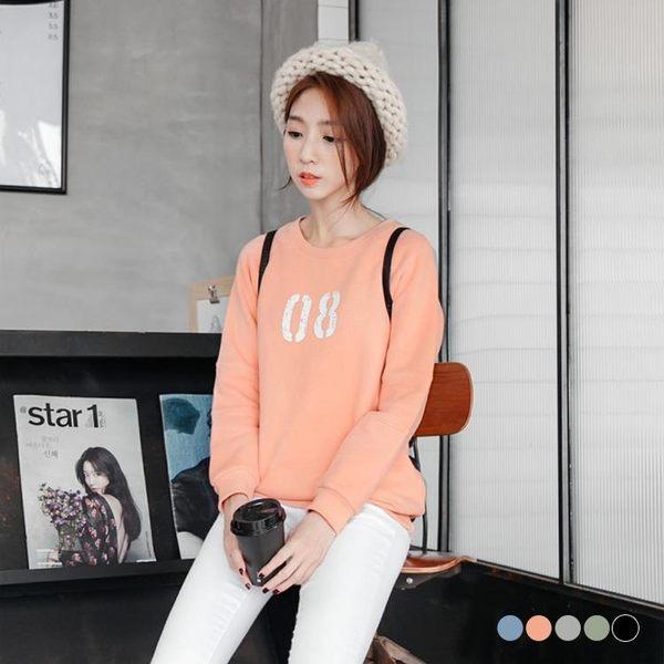 OrangeBear《AA8766》斑駁數字8印花內刷毛圓領上衣.5色--適 XL~6L